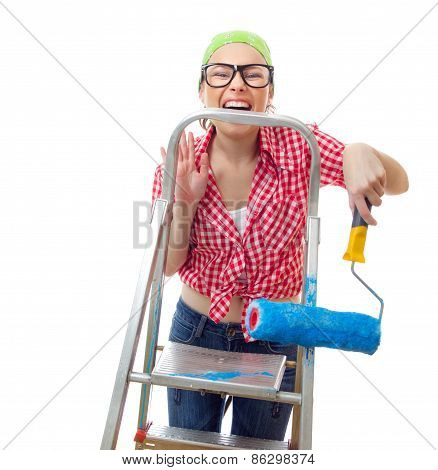 Expressive Woman Holding Roller Afore Ladder Over White Background