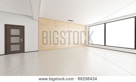 Interior Rendering Of An Empty Room With Textures