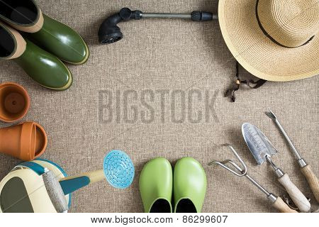 Border Or Frame Of Gardening Tools