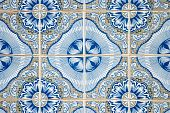 Ornamental old white and blue typical tiles from Portugal. poster