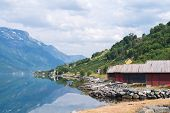 Red boat-houses at th shore of fjord, Norway. Hardangerfjord. poster