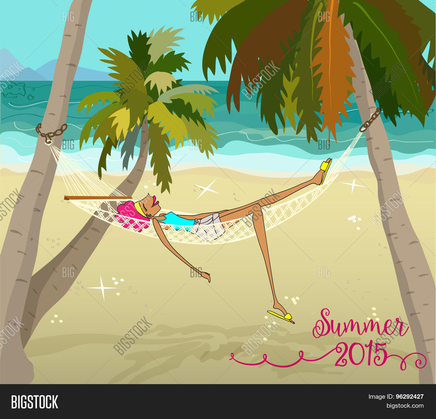 Summer holiday vector photo free trial bigstock summer holiday cartoon redhead relaxing in hammock on a sandy beach with palm trees voltagebd Choice Image