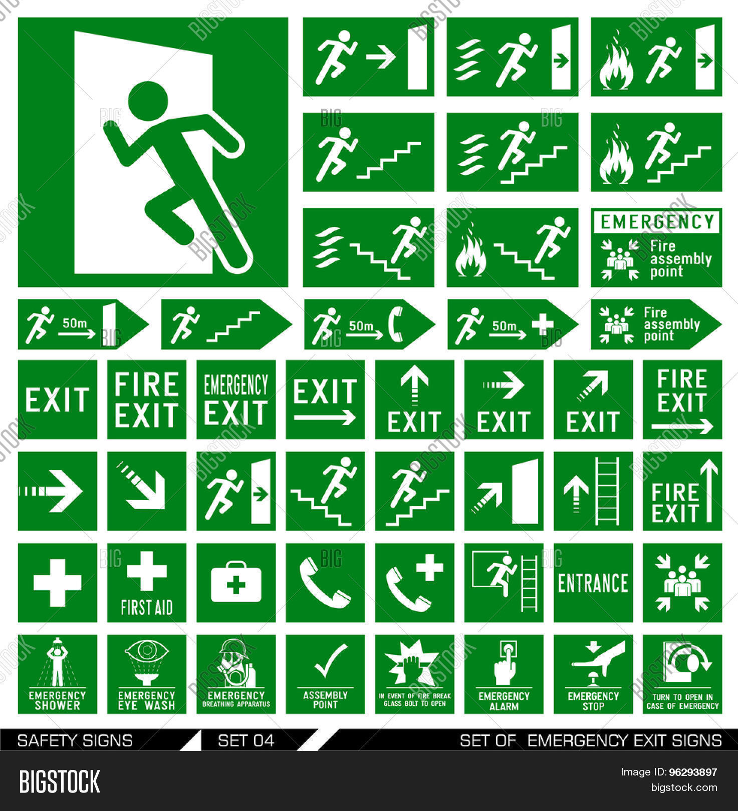 Set safety signs exit signs set vector photo bigstock set of safety signs exit signs set of emergency exit signs collection of buycottarizona Images