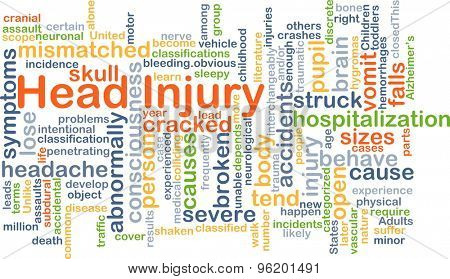 Background concept wordcloud illustration of head injury