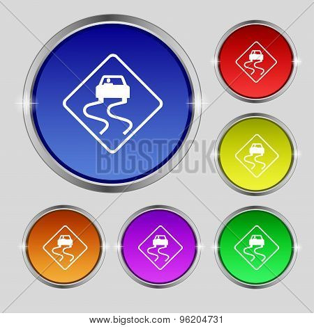 Road Slippery Icon Sign. Round Symbol On Bright Colourful Buttons. Vector