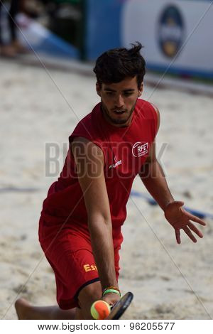 MOSCOW, RUSSIA - JULY 15, 2015: Antomi Ramos-Viera of Spain in action during the ITF Beach Tennis World Team Championship. 28 nations compete in the event this year