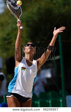 MOSCOW, RUSSIA - JULY 15, 2015: Mary-Jane Flore of Mauritius in action during the ITF Beach Tennis World Team Championship. Mauritius first time competes in the event