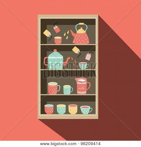 Shelf With Tea Pot And Tea Cup Illustration