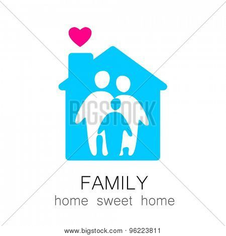 Family and home concept. Silhouette family icon and house.