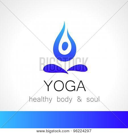 Yoga logo - design template. Health Care, Beauty, Spa, Relax, Meditation, Nirvana concept icon.