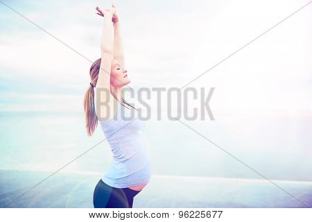 Pregnant Woman Doing Breathing Exercises