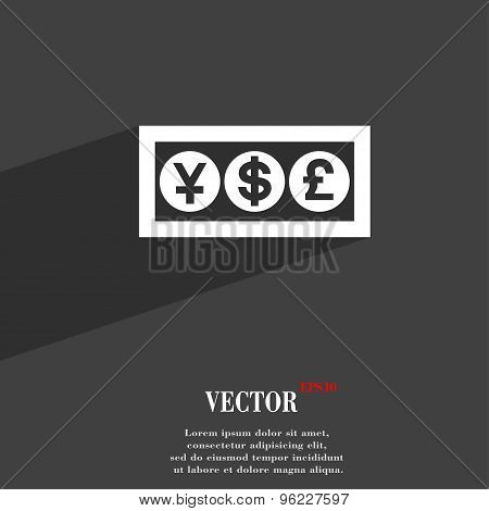Cash Currency Icon Symbol Flat Modern Web Design With Long Shadow And Space For Your Text. Vector