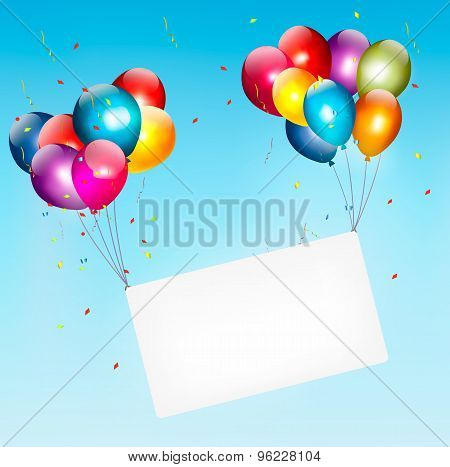 Colorful Balloons Holding Up A Cloth White Banner. Birthday Background.