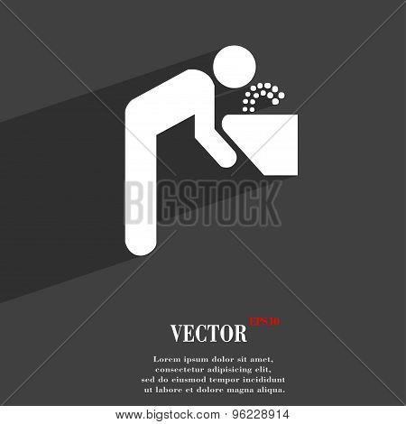 Drinking Fountain Icon Symbol Flat Modern Web Design With Long Shadow And Space For Your Text. Vecto