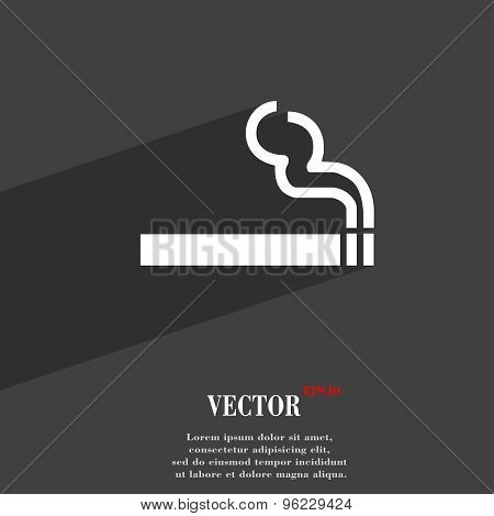 Cigarette Smoke Icon Symbol Flat Modern Web Design With Long Shadow And Space For Your Text. Vector