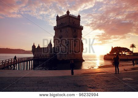 Belem Tower Of Tagus River In The Lisbon At Dawn