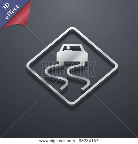 Road Slippery Icon Symbol. 3D Style. Trendy, Modern Design With Space For Your Text Vector