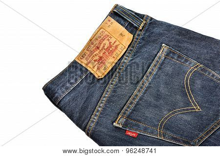 SYDNEY AUSTRALIA - July 28, 2015 : Close up of the LEVI'S red label on the back pocket of denim jean