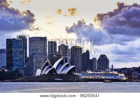 SYDNEY AUSTRALIA - July 20, 2015 : View of sunset at Sydney Opera House