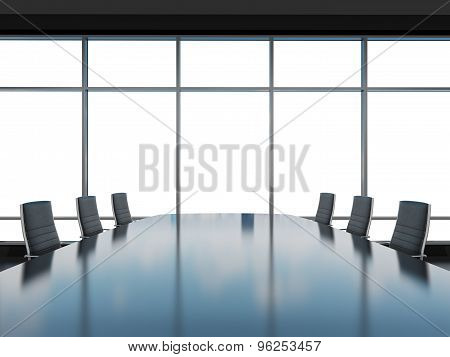 Panoramic Conference Room In Modern Office, Copy Space View From The Windows. Black Leather Chairs A