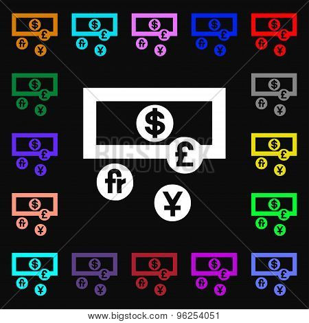 Currencies Of The World Iconi Sign. Lots Of Colorful Symbols For Your Design. Vector