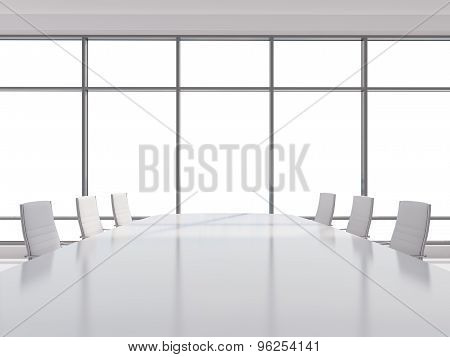 Panoramic Conference Room In Modern Office, Copy Space View From The Windows. White Leather Chairs A