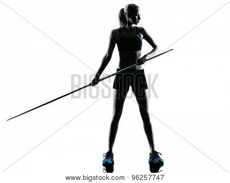 one  caucasian woman Javelin thrower in silhouette isolated white background