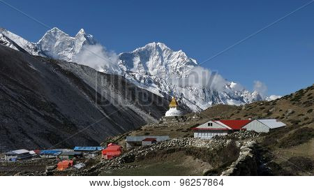 Beautiful Village Dingboche And High Mountain Thamserku