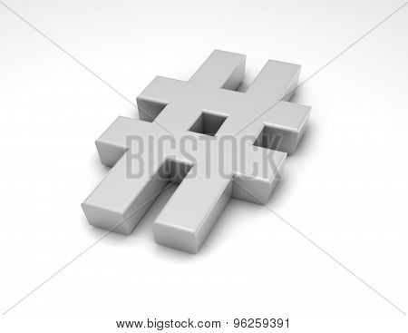 Shiny Metal 3D Hash Tag Isolated On White Background, Communication And Social Media Idea.