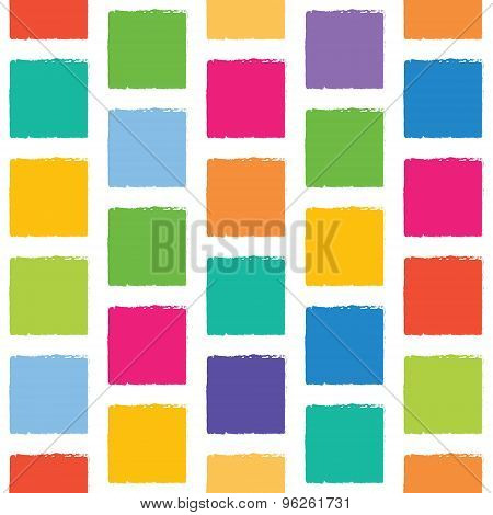 Vector Seamless Pattern With Colorful Squares With Jagged Edges. Abstract Background, Good For Child