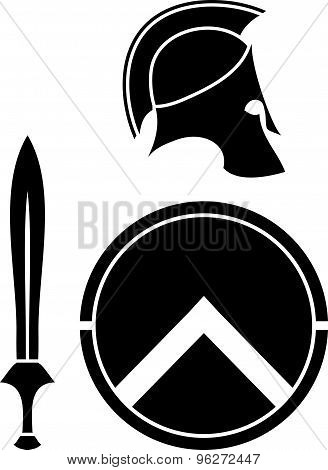 Spartans Helmet, Sword And Shield