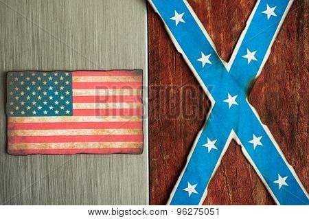 confederate and american flag grunge background design