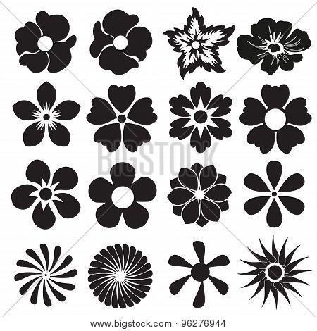 Flower icon or sign set. Vector design elements.
