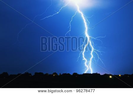 Lightning strike on a stormy night