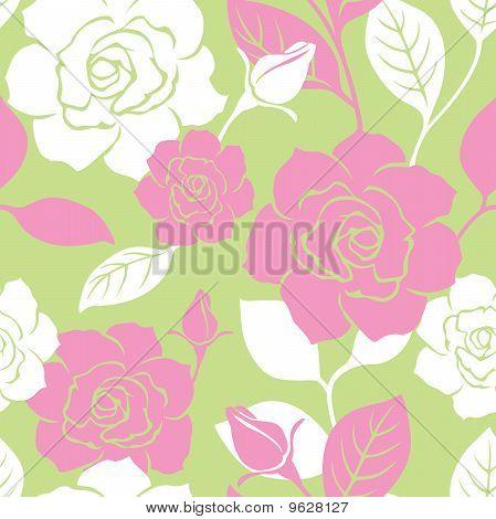 Seamless Garden Rose Pattern