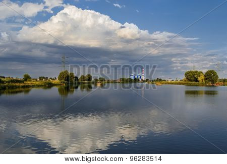 Power Plant In The Evening On The Odra River Near Opole