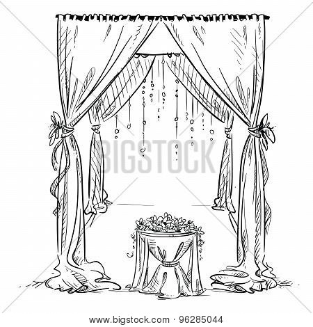 Wedding arch wedding vector photo free trial bigstock wedding arch wedding altar decoration vector sketch design element junglespirit Images