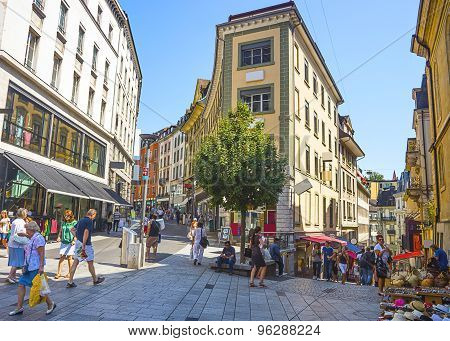View Of Lausanne Street In Summer
