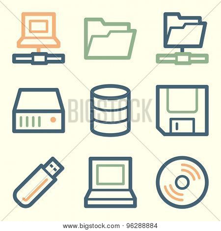 Drive storage web icons, square buttons