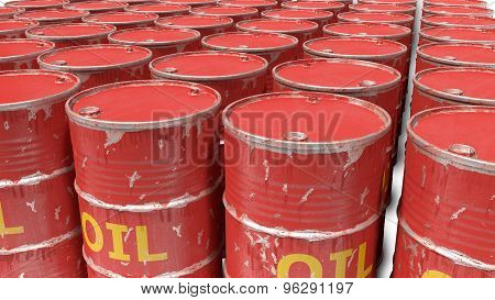 large number of dirty worn scratched oil barrels