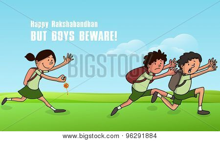 Cute little boys running fast from a girl who wants to tying them rakhi, Creative illustration for Indian festival, Raksha Bandhan celebration.