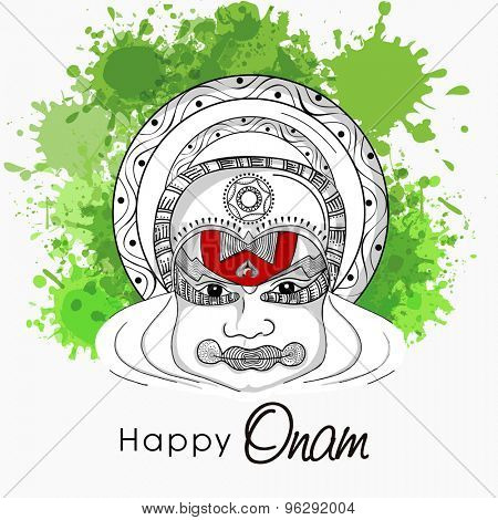 Black and white sketch of a Kathakali dancer face on green color splash background for South Indian festival, Happy Onam celebration.