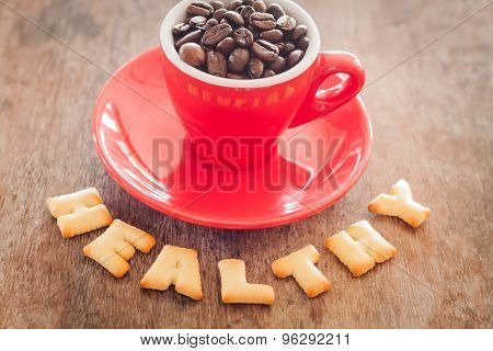 Healthy Alphabet Biscuit With Red Coffee Cup