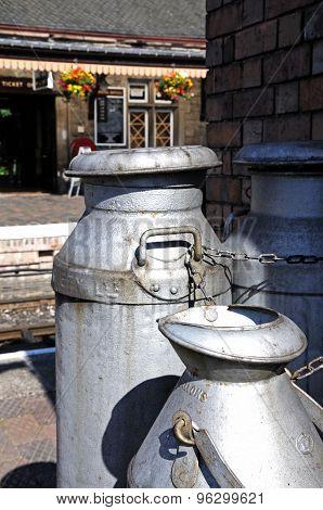 Milk churns at Bridnorth Railway Station.