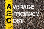Concept image of Business Acronym AEC as Average Efficiency Cost written over road marking yellow paint line. poster