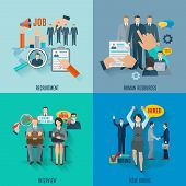 Hire design concept set with human resources recruitment flat icons isolated vector illustration poster