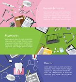 Type of physicians doctor such as general internists psychiatrist and dentist icon tools info graphic banner template layout background designed for website create by vector poster