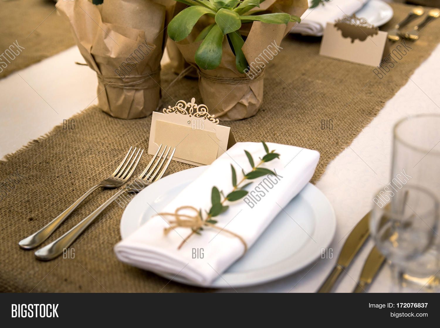 Wedding table setting image photo free trial bigstock wedding table setting in rustic style eco style wedding decoration table setting with junglespirit Image collections