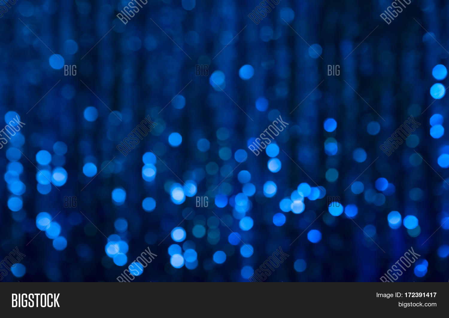 Navy Blue Festive Christmas Beautiful Abstract Background With Bokeh Lights.  Holiday Backdrop With Copy Space