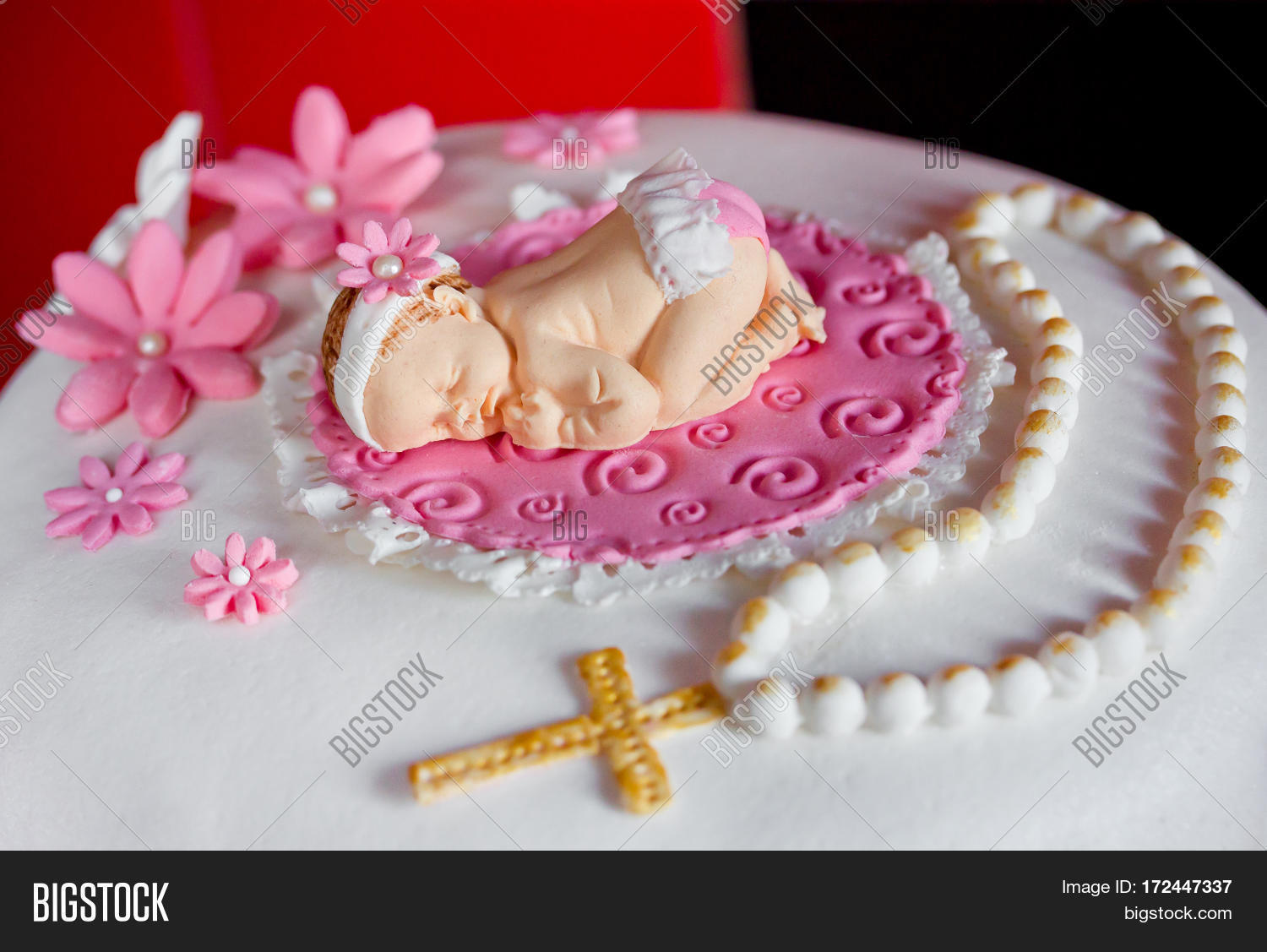 Pleasing Christening Cake Baby Image Photo Free Trial Bigstock Personalised Birthday Cards Veneteletsinfo